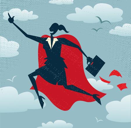 抽象的な実業家は、スーパー ヒーローです。抽象的な実業家救助彼女の超大国の必要とされているもう一つのビジネス取引をオフに飛んで。  イラスト・ベクター素材