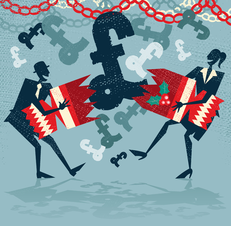 Retro styled Businessman and Woman pulling a huge christmas cracker at their Christmas party and finding a surprise UK Pound financial bonus