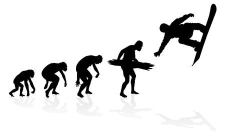 origen animal: Evolución de un Snowboarder. Gran ejemplo de que representa la evolución de un hombre del mono al hombre a Snowboarder en silueta. Vectores