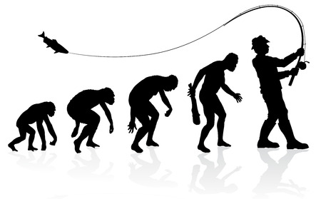 Evolution of the Fisherman. Great illustration of depicting the evolution of a male from ape to man to Fisherman in silhouette. Stock Illustratie