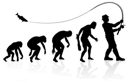 Evoluzione del Pescatore. Grande illustrazione di rappresentare l'evoluzione di un maschio dalla scimmia all'uomo Fisherman in silhouette. Archivio Fotografico - 34304218