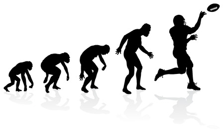 hunched: Evolution of the Quarterback. Great illustration of depicting the evolution of a male from ape to man to American Football Quarterback in silhouette.