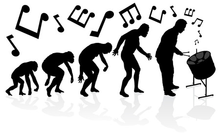 human evolution: Evolution of the Steel Pan Player. Great illustration of depicting the evolution of a male from ape to man to Steel Pan Player in silhouette.