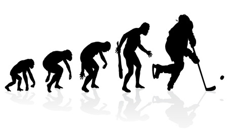 hockey: Evolution of the Ice Hockey Player. Illustration