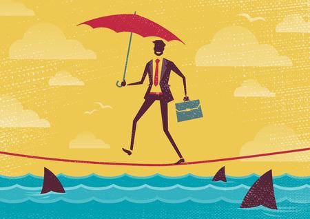 Gran ejemplo de hombre de negocios retro de estilo de caminar con cuidado a través de una muy alta cuerda floja con su paraguas para mayor protección.