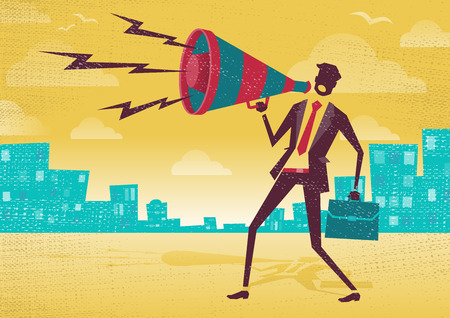 Businessman with Megaphone. Great illustration of Retro styled Businessman shouting at the top of his voice through a loudspeaker megaphone. Illustration