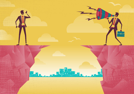 Businessmen communicating from distance. Great illustration of Retro styled Businessman standing on the cliffs shouting at the top of his voice through a loudspeaker megaphone to his colleague who is trying to hear him. Illustration