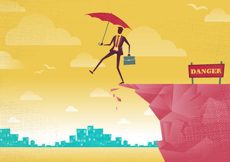 overhang: Businessman walks off a cliff. Great illustration of Retro styled Businessman walking off the cliffs or maybe its a leap of faith.