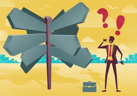 business dilemma: Businessman Sign Post Dilemma.  Illustration