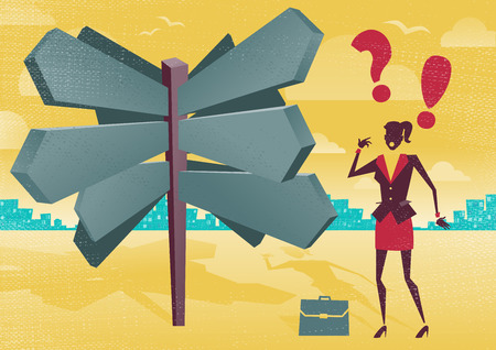 business woman: Businesswoman at a Blank Sign Post Dilemma.  Great illustration of Retro styled Businesswoman with a selection of Business related options and choices to make. All recruitment Agencies need one of these!