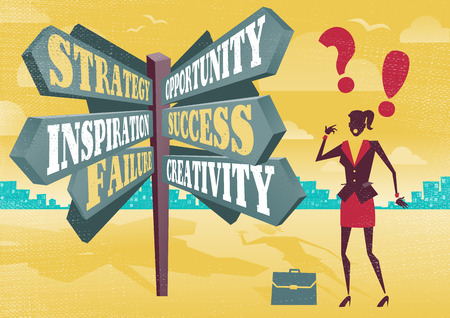 opportunity discovery: Businesswoman at Career Sign Post Dilemma.  Great illustration of Retro styled Businesswoman with a selection of Business related options and choices to make. All recruitment Agencies need one of these! Illustration