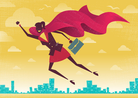 Super: Businesswoman is a Superhero. Businesswoman flies off to rescue another business deal that is need of her super powers. Illustration