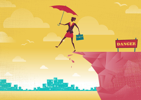 overhang: Businesswoman takes a leap of faith on Clifftop. Great illustration of Retro styled Businesswoman walking off the cliffs or maybe its a leap of faith. Illustration