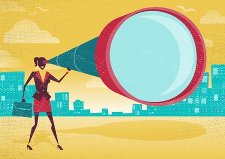 Geschäftsfrau schaut durch ihr Teleskop. Große Illustration von Retro-Stil Geschäftsfrau, die Vektorgrafik