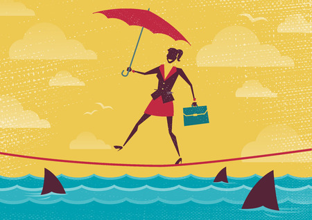 risky job: Businesswoman walks Tightrope with Umbrella. Great illustration of Retro styled Businesswoman walking carefully across a very high tightrope with her umbrella for added protection.