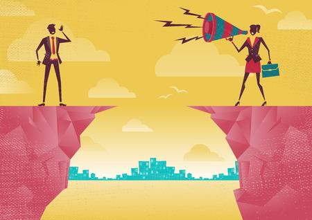 bluff: Imprenditrice comunicare dalla distanza. Grande illustrazione di stile retr� Imprenditrice in piedi sulle scogliere gridando in cima alla sua voce attraverso un megafono altoparlante per il suo collega che sta cercando di sentirla.