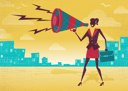 public speaker: Businesswoman with Megaphone. Great illustration of Retro styled Businesswoman shouting at the top of her voice through a loudspeaker megaphone.