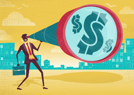 Businessman looks through his Telescope to find the Dollar.  Great illustration of Retro styled Businessman who Vector
