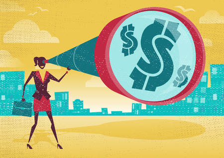 observe: Businesswoman looks through her Telescope to find the Dollar.  Great illustration of Retro styled Businesswoman who