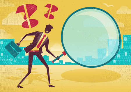 Businessman uses magnifying glass to find clues. Great illustration of Retro styled Abstract Businessman searching for a clue with his gigantic magnifying glass.