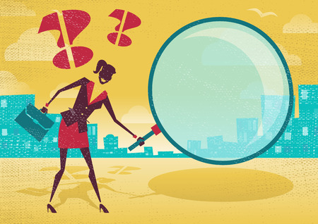 woman searching: Businesswoman uses magnifying glass to find clues. Great illustration of Retro styled Abstract Businessman searching for a clue with her gigantic magnifying glass.