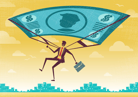 Businessman uses his Financial Dollar Bill Parachute. Great illustration of Retro styled Businessman who Vector