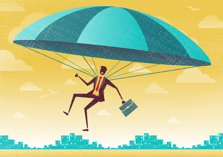 high up: Businessman uses his Parachute. Great illustration of Retro styled Businessman who Illustration