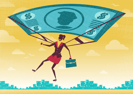 jump up: Businesswoman uses her Financial Dollar Bill Parachute. Great illustration of Retro styled Businesswoman who Illustration