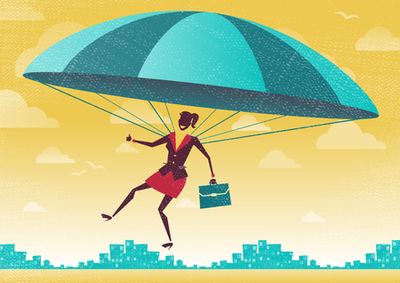 jump up: Businesswoman uses her Parachute. Great illustration of Retro styled Businesswoman who