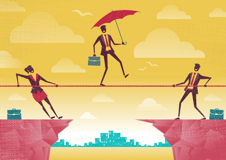 Businessman and Businesswoman use Teamwork on Clifftop. Great illustration of Retro styled Business People working as a team to assist their colleague through a difficult situation. Illustration