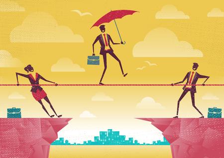 Homme d'affaires et femme d'affaires utilisent Travail en équipe sur Clifftop. Grande illustration de style rétro gens d'affaires travaillant en équipe pour aider leur collègue d'une situation difficile. Vecteurs