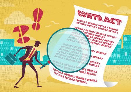 사업가 계약을 확인하기 위해 돋보기를 사용합니다. 사업가 자신의 거대한 돋보기와 그의 사업 계약의 글씨를 확인하는 것은 매우 조심.