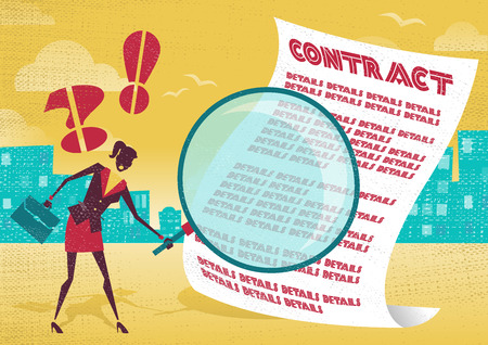 legal contract: Businesswoman uses magnifying glass to check contract. Businesswoman is very careful to check the fine print of a business contract with her huge magnifying glass.