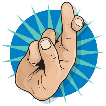 ビンテージ ポップアート指を交差の印。ポップアート コミック スタイルの指交差手話ジェスチャーの幸運と富のための素晴らしいイラスト。