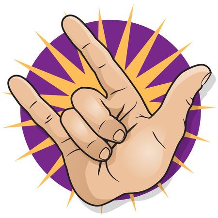 hand sign: Pop Art Rock and Roll hand teken. Grote illustratie van het pop-art stijl hand teken gebaren de klassieke Rock and Roll vuist pomp.
