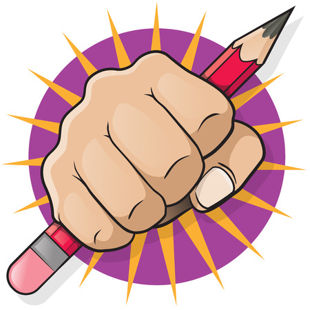 Punching Fist with Pencil. Great illustration of Punching Fist holding a Pencil punching directly at you.