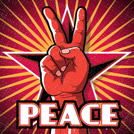 Retro Peace Hand Poster. Great illustration of Retro Style Peace Hand Sign gesturing positive Peaceful Vibes.
