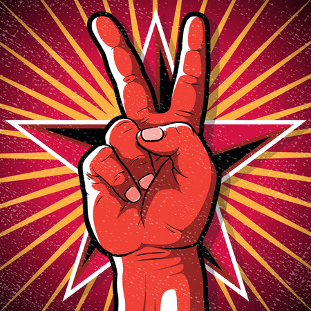 Retro Peace Hand Sign. Great illustration of Retro Style Peace Hand Sign gesturing positive Peaceful Vibes.