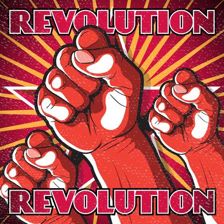 Entrar Perforación Retro Revolución Puño. Gran ejemplo de estilo de la propaganda rusa de perforación del puño simboliza Revolución. Foto de archivo - 35849308