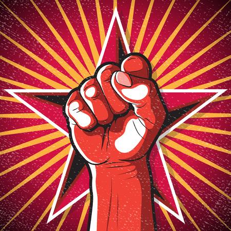 Retro Stanzen Faustzeichen. Große Illustration des russischen Propagandastils, der Faust schlägt, die Revolution symbolisiert.