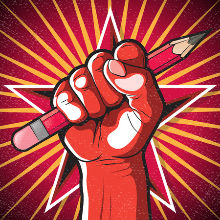 pens: Revolutionary Punching Fist and Pencil Sign. Great illustration of Russian Propaganda style punching Fist holding a pencil symbolising Freedom of speech.