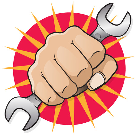 impact tool: Retro Punching Fist with Spanner. Great illustration of Retro styled Punching Fist holding an industrial Spanner punching directly at you.