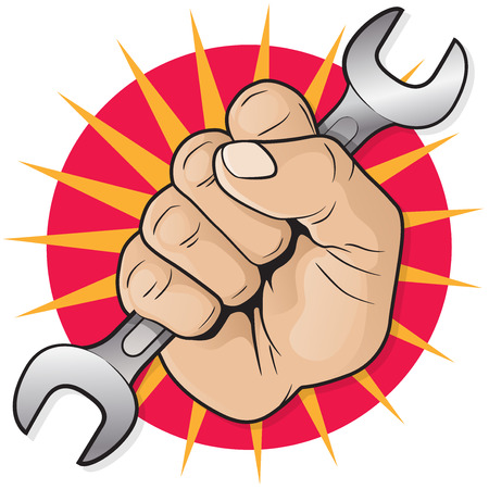 impact tool: Retro Raised Punching Fist with Spanner.  Great illustration of a Retro styled Raised Punching Fist holding an industrial Spanner upwards in the air.