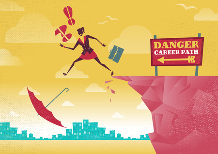 Great illustration of Retro styled Businesswoman plummets off a cliff as her career takes a fall.