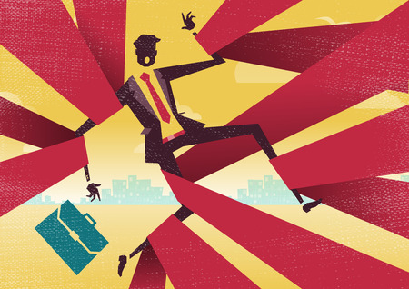 Businessman is caught up in Bureaucratic Red Tape.  Great illustration of Retro styled Abstract Businessman caught up in bureaucratic red tape.