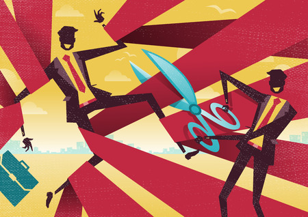 government regulations: Businessman is cut free from Bureaucratic Red Tape. Great illustration of Retro styled Abstract Businessman using Scissors to free his buddy from bureaucratic red tape.