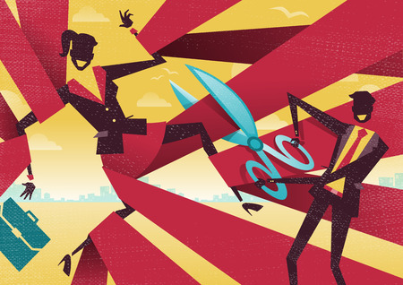 red tape: Businesswoman is cut Free from bureaucratic red tape. Great illustration of Retro styled Abstract Businessman using Scissors to free his buddy from bureaucratic red tape. Illustration
