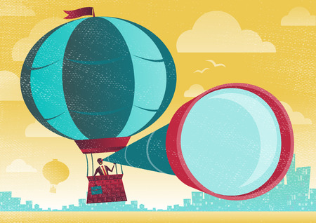 Businessman has a great view in a Hot Air Balloon. Great illustration of Retro styled Businessman who has the best view of the business landscape. Vector