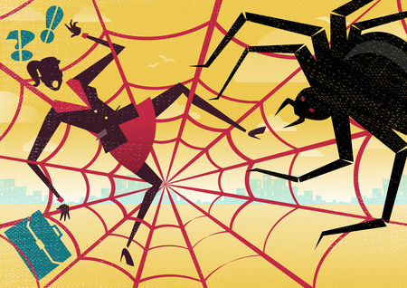Businesswoman is caught in a bureaucratic Spiders Web 矢量图像
