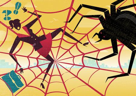 Businesswoman is caught in a bureaucratic Spiders Web Vettoriali